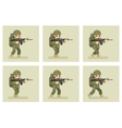 Soldier flat design run animation frames vector image vector image