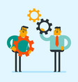 caucasian white business men assembling gears vector image