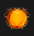 Heart on fire on a dark background vector image