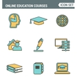 Icons line set premium quality of online education vector image