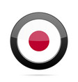 flag of japan shiny black round button vector image