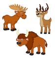 set of isolated with elk deer bison vector image