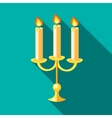 Chandelier with candles icon flat style vector image