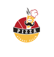 abstract label pizza cook in cartoon style vector image