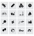 black toys icon set vector image