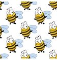 Cartoon smiling bee seamless pattern vector image