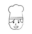 chef woman happy worker with hat vector image