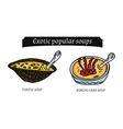 exotic soups and snacks vector image