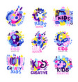 kid creative set of colorful logo graphic vector image