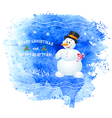 Merry Christmas greeting card with snowman vector image