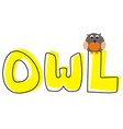 O is for owl - school hand drawn word vector image