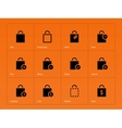 Shopping bag icons on orange background vector image