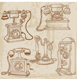 Vintage telephones set vector image