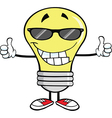 Light bulb cartoon with thumbs up vector image
