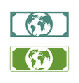 Worlds money Banknotes with planet Earth Future of vector image