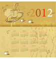 vintage template for calendar 2012 vector image