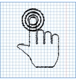 Hand icon with pen effect on paper vector image