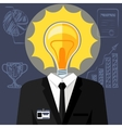 Bulb headed man Business man in suit vector image