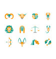 cartoon zodiac symbol color icons set vector image