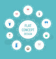 flat icons dental crown implantation toothbrush vector image