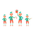 Set of cute christmas elves Little child vector image