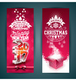 Merry Christmas banner with gift box vector image vector image