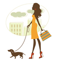 Silhouette woman with badgerdog vector image
