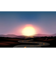 A winding road and the sunset vector image