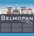 belmopan skyline with gray buildings blue sky and vector image