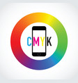 cmyk mobile phone colour selector vector image vector image