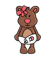 Girl bear wearing diapers vector image
