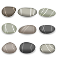 Set sea pebbles with shadows on white background vector image