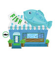 cartoon seafood shop a small cute fish market vector image