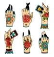 Old school tattoo hands vector image