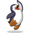 Penguin Jumping in Excitement vector image