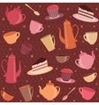 Seamless pattern with tea and coffee items vector image