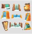 waterfalls set cascading streams of various shape vector image
