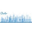 Outline Osaka Skyline with Blue Buildings vector image