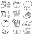 Hand draw element thanksgiving on doodles vector image