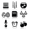 Nowruz - Persian New Year icons set vector image vector image