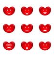 Set of smiles of heart shape with many emotions vector image vector image