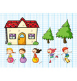 Children playing and house set vector image