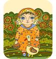 girl goose meadow folk vector image vector image