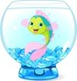 Cute Cartoon Fish in Aquarium vector image