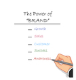 hand writing the power of brand vector image