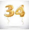 Golden 34 number thirty four metallic balloon vector image