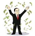 businessman throwing bank notes vector image
