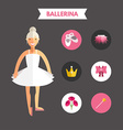 Flat Design of Ballerina with Icon Set Infographic vector image