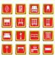 furniture icons set red vector image