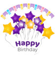 happy birthday greeting on banner with star shaped vector image